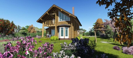 New build log cabin in Evia